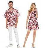 Couple Matching Hawaiian Luau Cruise Outfit Shirt Tank Dress Classic Vintage Hibiscus Red Men XL Women L