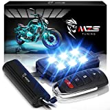 MZS Motorcycle LED Light Kit Multi-Color Neon RGB Strips, Wireless Smart Remote Controller -Compatible with ATVs UTVs Cruiser Trikes Golf Carts -Waterproof IP65 (Pack of 8)