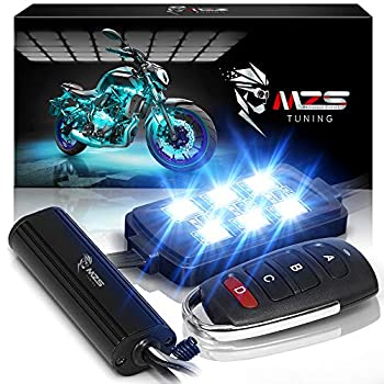 MZS Motorcycle LED Light Kit Multi-Color Neon RGB Strips Wireless Smart Remote Controller -Compatible with ATVs UTVs Cruiser Trikes Golf Carts -Waterproof IP65  Pack of 8