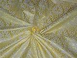 Brokat Stoff lime gelb x creme Farbe 111,8cm Zoll