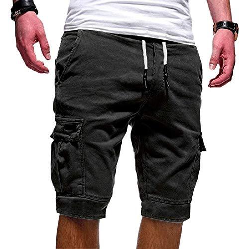 Cindeyar Herren Cargo Hose Shorts Sommer Bermuda Kurze Hose Chino Jogger Hose (XL, Grau)