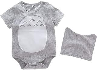 stylesilove Baby Toddler Boy Grey Short Sleeve Romper with Hat 2-PC Set