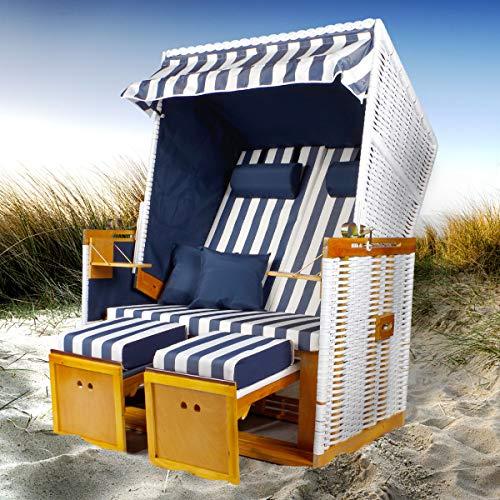 Luxus XL Strandkorb schwarz Zweisitzer Vollieger Gartenliege Sonneninsel