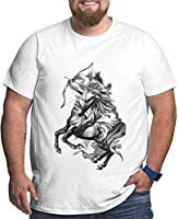 Sagittarius Logos Black Big and Tall T-Shirts for Men Short Sleeve Cotton