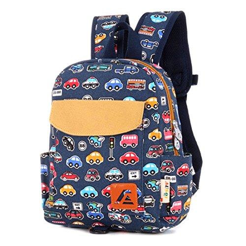 Itechor stampa su tela zaino Zaino per la scuola materna borsa studenti per bambini e bambine per bambini piccoli, Blue Bus