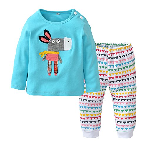 Baby Girls Clothes Set 2 Piece Long Sleeve Donkey Pattern Infant Outfits (18-24 Months) Blue