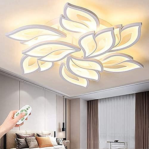 sgvaga Plafonnier LED à intensité variable avec télécommande - Changement de couleur - Pétale de fleurs - Abat-jour en acrylique pour salon, chambre à coucher, cuisine - 9 têtes