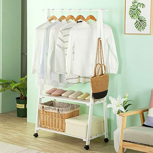 Zcyg Perchero con zapatero de madera maciza con ruedas y estante de 2 niveles para guardar y organizar zapatos (color: blanco)