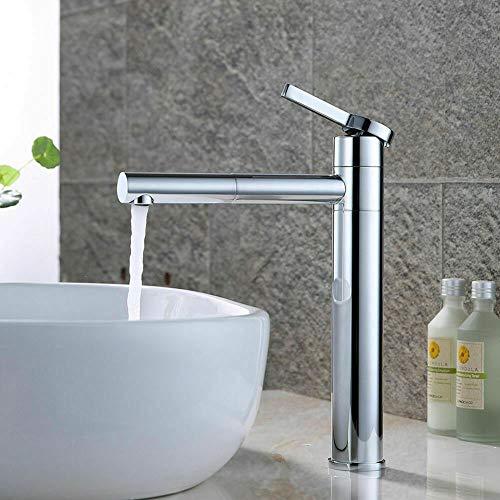 Aboyia - Grifo mezclador monomando para lavabo (giratorio 360°, 3/8')