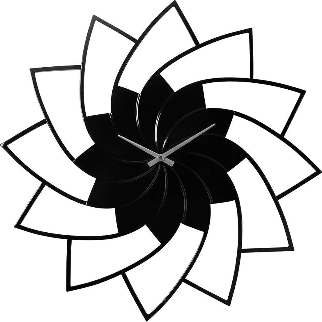 姿を消す明快おバッテリー駆動ミュート装飾時計静音掃除現代の壁時計金属フレームの時計、黒 JSFQ