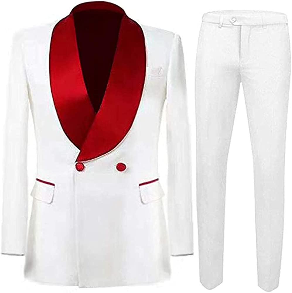 Men's Shawl Lapel Double Breasted 2 Pieces Slim Fit Business Suits Wedding Tuxedo