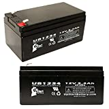 2x Pack - Replacement for Aquatec FORTUNA BATH LIFT Battery - Compatible UB1234 Universal Sealed Lead Acid Battery (12V 3.4Ah 3400mAh F1 Terminal AGM SLA) - Includes 4 F1 to F2 Terminal Adapters