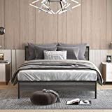 Weehom Full Size Metal Bed Frame with Wood Headboard Comfort 600 14 Inch Heavy Duty Steel Slatted Support Mattress Base Bed Storage / Non-Slip Non-Slip