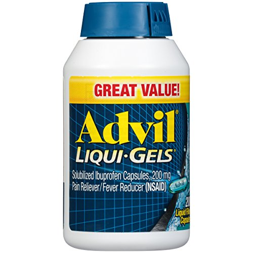 Advil Pain Reliever and Fever Reducer, Solubilized Ibuprofen Mg, Liquid Fast Pain Relief, White, Liqui-Gels, 200 Count