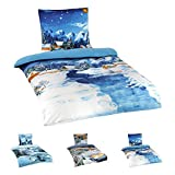Niceprice Winter Flausch Fleece Microfaser Bettwäsche, Winterlandschaft Motive, 4tlg. Fluss 135x200