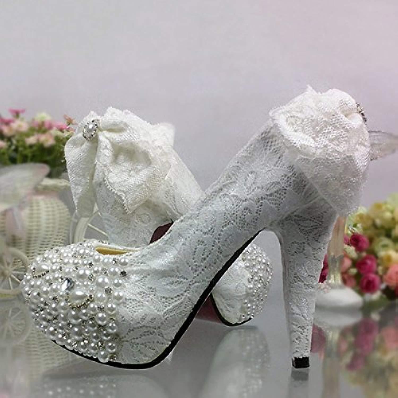 JINGXINSTORE Lace Bow diauomote sautope matrimonio bianco perla di cristtuttio impermeabile High-Heeled sposa sautope di fiori