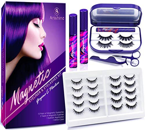 Arishine 3D 5D Magnetic Eyelashes with Eyeliner Kit, 10-Pair Reusable Natural Magnetic Lashes, 2 Pair Fluffy magnetic Eyelashes, 2 Tubes of Magnetic Eyeliner with Scissors Tweezers & Mirror Case