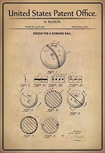 Generisch Patent Entwurf Bowlingkugel Ruskin Blechschild Metallschild Schild Metal Sign 20 x 30 cm