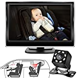 Baby Car Mirror, Yandoctor Baby Car Camera Car Seat Mirror Rear Facing, 5″HD Monitor Display with Night Vision, 170°Wide View Car Baby Monitor with Camera, Easily Observe the Baby's Movement