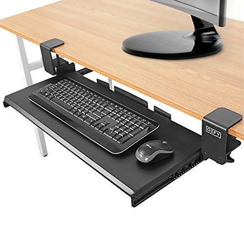 Clamp On Keyboard Tray Under Desk Storage - Ergonomic Desk Drawer Computer Keyboard Stand Under Desk Drawer - Under Desk Keyboard Tray Desk Extender - Office Keyboard Drawer Keyboard Stand for Desk