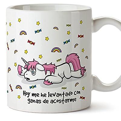 MUGFFINS Taza Unicornio - Hoy me he levantado con ganas de acostarme - Regalo Original con Frases Divertidas para desayunos