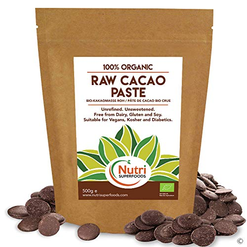 NOUVEAU LANCEMENT - Pâte de cacao bio crue / gaufrettes de masse - Boutons de chocolat 100% pur - Non sucré, non raffiné - 500g