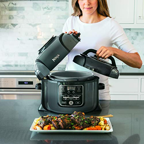Ninja OP301 Pressure Cooker, Steamer & Air Fryer w/TenderCrisp Technology Pressure & Crisping Lid, 6.5-Quart, Black/Gray