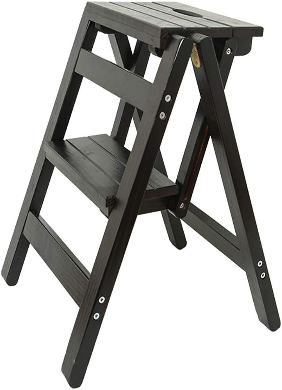 Folding Ladder Multi-Layer Folding Solid Wood Ladder Stool,Step Stool Household Muliti-color Stool Step Ladder Foldable Stepladder,B