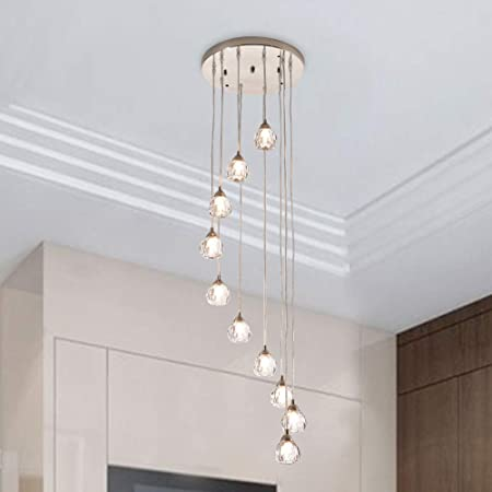 Maxax Stair Raindrop Crystal Chandeliers, 10 Lights Spiral Globe Glass Pendant Light, Modern Staircase Long Ceiling Lighting, for Dining Room, Living Room, Bedroom, Nickel