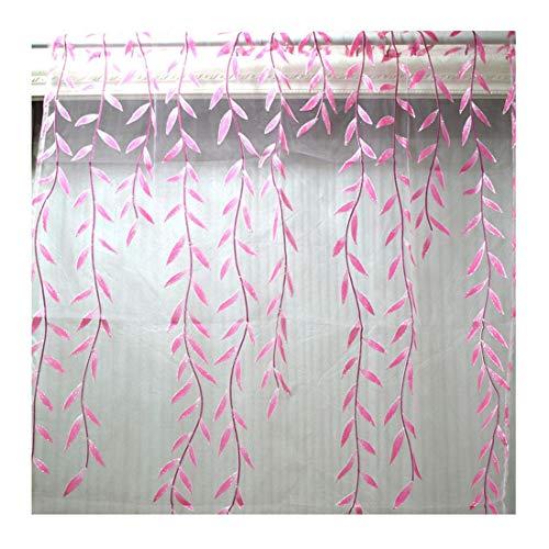 Freahap Paneles Visillos Cortina Traslúcida para Ventana Gasa Estampada Mimbre para Sala de Estar Habitación Salón, 1 Unidad #3 L