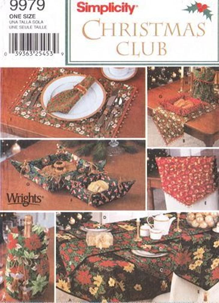 Simplicity Sewing Pattern 9979 Christmas Tablecloth, Table Runner, Place Mats, Napkins, Baskets & Bottle Bag