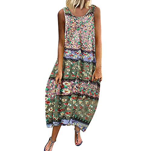 Lialbert - Vestido de Playa para Mujer, Cuello Redondo, con Estampado de Flores, Vestido Elegante, Vestido de Camisola, Maxikleider, Estampado de Flores, Tallas Grandes, sin Mangas A-Rosa 42