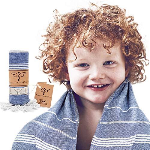 Smyrna Original Turkish Beach Towel for Kids   100% Cotton, Prewashed, 22 x 48 Inches   Peshtemal and Turkish Bath Towel for Beach, Pool, and Bathroom (Dark Blue)