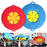 """Spill Stopper Lid Cover,Boil Over Spill Stopper, Silicone Spill stopper for Pans and Pots Boil Over Safeguard, 10"""" and 11.5"""" in Multi-Function Kitchen Tool (Blue And Red)"""