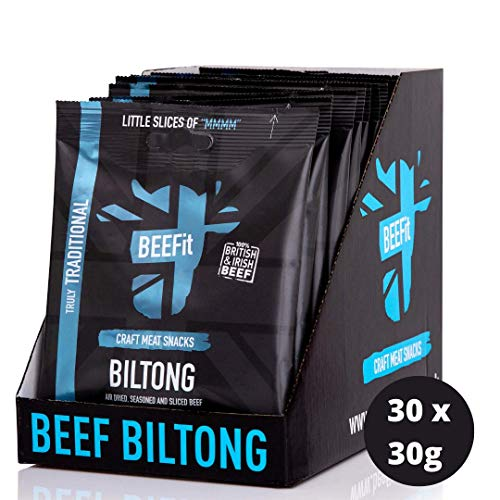 BEEFIT Snacks 30x30g Hohes Protein Biltong, Traditionell, Gesund- Wenig Zucker, Nicht BEEF Jerky