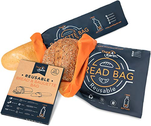 Set of Reusable Bread Bags|Baguette Bag, Recycled Bread Storage Containers For Homemade Bread - Freezer-Safe Food Storage Bag & Bags For Bread with Double Lining- Premium Bakery Supplies