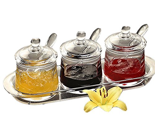 FOLOBE Premium qualità trasparente acrilico condimento set spice box con cucchiaio condimento sale pepe spezie lattine accessori cucina marmellata bottiglie