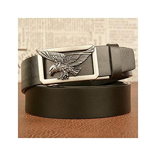 GHRFZC Fashion Men Cinturón De Negocios Hollow out Flying Eagle Retro Reloj Automático Personalidad De Cinturón Casual Simple Tejido Casual Cintura, Cinturón Negro Hebilla Plateada, 125Cm