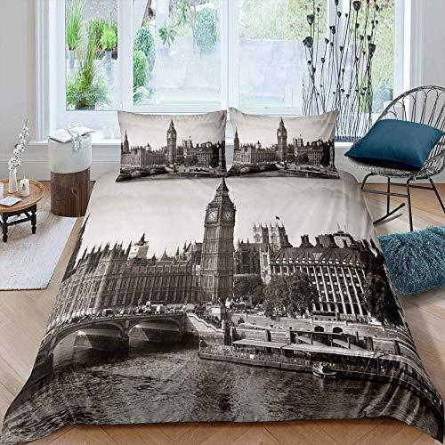 PTBDWOSZ® Ropa De Cama De Niña 135X200 Cm Patrón De Arquitectura De La Ciudad Gris De Londres Big...