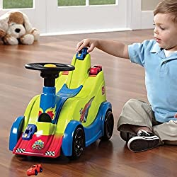 Ride along on this race car for hours of endless fun When you are finished riding, race your cars on the on the downhill race tracks or jump them off the stunt ramp Store your cars in the rear storage bin, holds up to 12 cars Works with Matchbox and ...