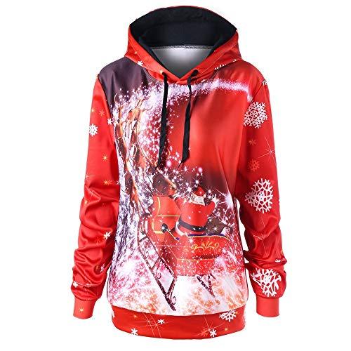 MIRRAY Damen Weihnachten Sweatshirt Frohe Weihnachten Langarm Plus Größe Sled Tunika Print Hoodie