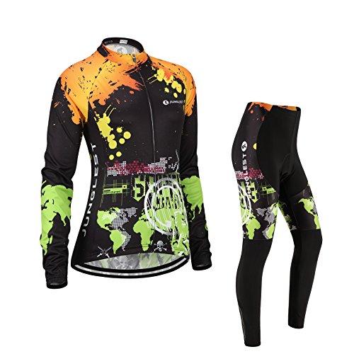(Cojín 3D)(traje tamaño:M) manga para maillot de larga ciclismo mujer rendimiento rompevientos...