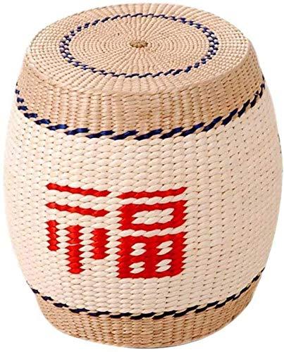 MUZIDP Taburete de pie otomanos, Taburete de Descanso de pie Redondo, artesanía de bambú Tejido de Madera sólido Pie de Madera Sofá Taburete para Sala de Estar Dormitorio (Color : A)