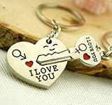 Liroyal Couple Keychain Keyring --- 'I Love You' Heart + Key --- Lover...