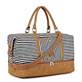 Plambag Canvas Duffel Weekender Bag with Shoe Compartment 42L Overnight Travel Tote Bag(Black...