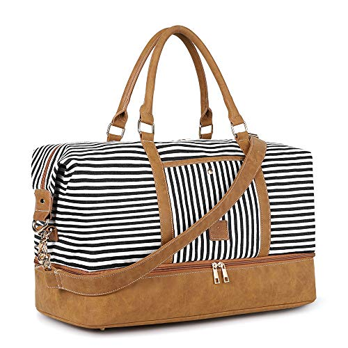 Plambag Canvas Duffel Weekender Bag with Shoe Compartment 42L Overnight Travel Tote Bag(Black Stripe)