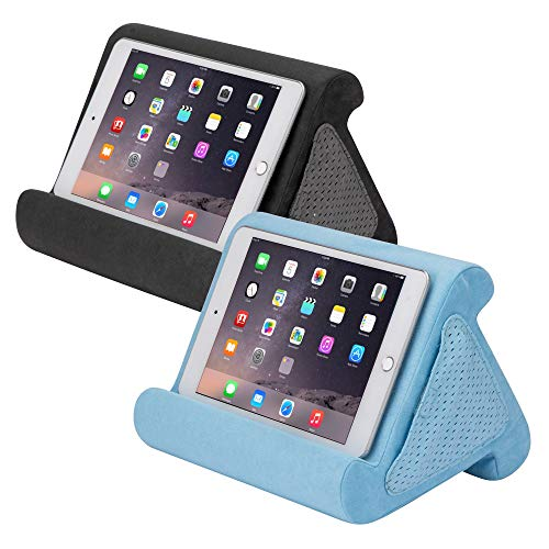 Flippy Fun Size, Compact Multi-Angle Soft Pillow Lap Stand for Mini iPads, Tablets, eReaders, Smartphones, Books, for All Ages, Easy to Store and Travel with (Smokey, Blue Skies, 2-Pack)