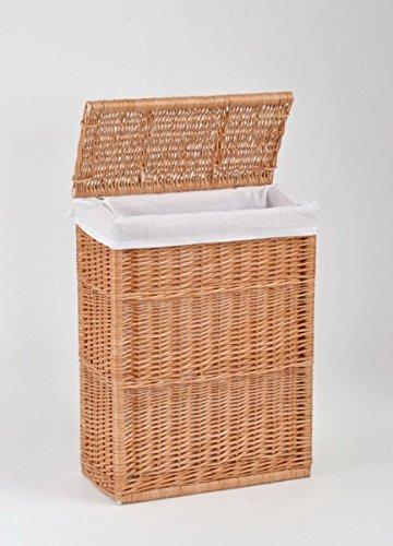 animal-design Nischen-Wäschekorb mit Deckel aus Weide/Natur Höhe ca. 60 cm Tiefe ca. 23cm Breite ca. 45,5cm Stoffeinsatz waschbar