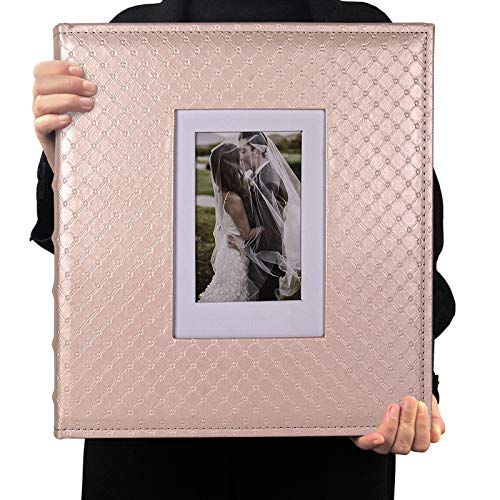 RECUTMS Photo Album 4x6 600 Photos Black Inner Page Button Grain Leather Big Capacity Pockets Pictures Album Birthday Christmas Photo Albums Wedding Anniversary Holiday Gift (Light Champagne)