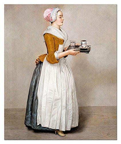 elOleo Jean Etienne Liotard - Das Schokoladenmädchen in 60x50 Gemälde auf Leinwand handgemalt 90252A - in Museumsqualität